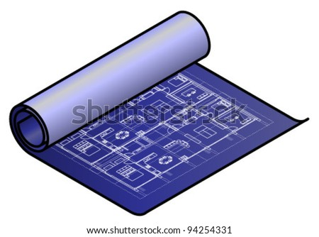 A partially unrolled blueprint / technical drawing. - stock vector