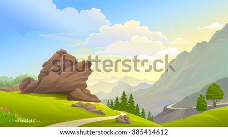 A path across the hills  - stock vector