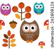 A pattern of an owl with nature stuff for different purpose - stock vector