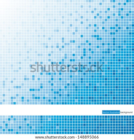 a pattern of blue color mosaic background. Vector. - stock vector