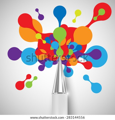 A pen with colorful shapes, vector - stock vector