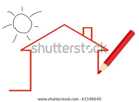a pencil drawing a house - stock vector