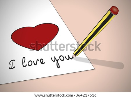 A pencil writing the words I love you with a heart  - stock vector