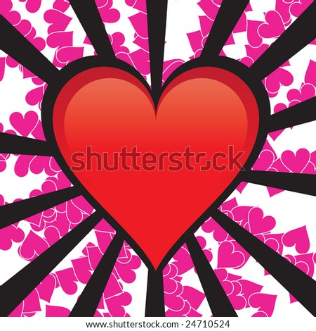 A perfect glossy heart over some burting rays in a grunge style.  All of the elements in this vector are fully editable. - stock vector