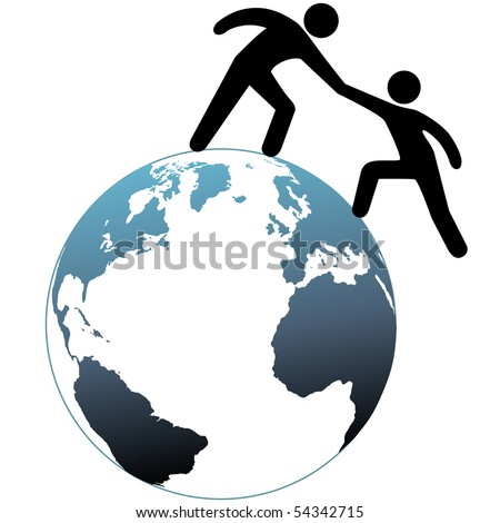 A person reaches out a helping hand to help a friend up on top of the world. - stock vector