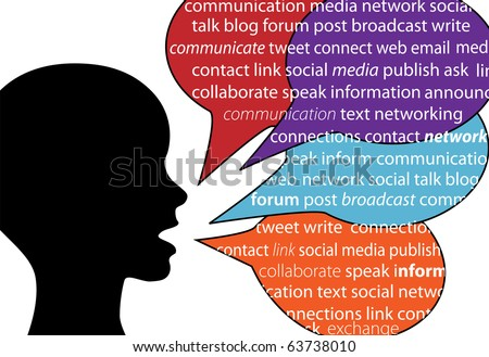 A person talks social communication words in text speech bubbles - stock vector