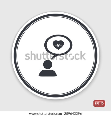 A person with a cloud. Medical sign. Human thought bubble above his head. Flat design style. Made in vector illustration. Emblem or label with shadow. - stock vector