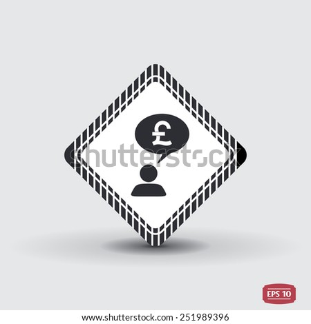 A person with a cloud. Money icon. Human thought bubble above his head. Flat design style. Made in vector illustration - stock vector