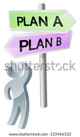 A person with a decision to make looking up at a sign with directions to plan a or plan b - stock vector