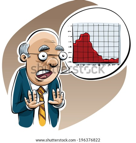 A pessimistic cartoon economist warms of economic trouble with a graph. - stock vector