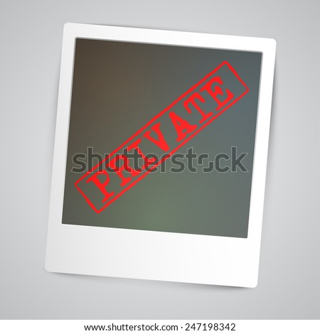 A photogrph with a warning sign, vector - stock vector