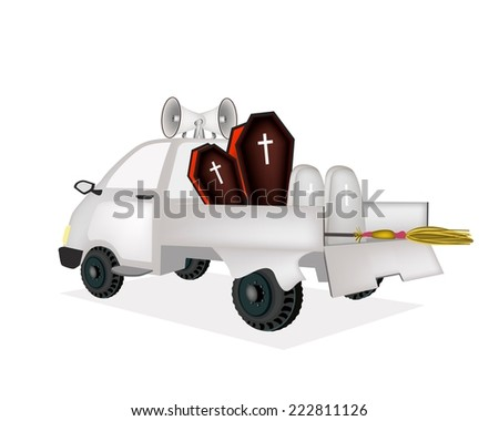 A Pickup Truck Full with Vampire Coffins, Gravestone and Wicked Broom Send for Celebrations of Halloween.  - stock vector