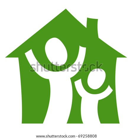 A pictogram showing a child with an adult being glad in their own house - stock vector