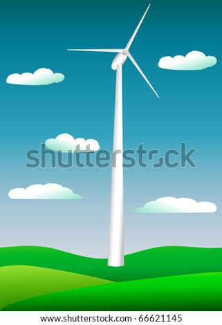 a picture of a large electric windmill against a blue sky - stock vector