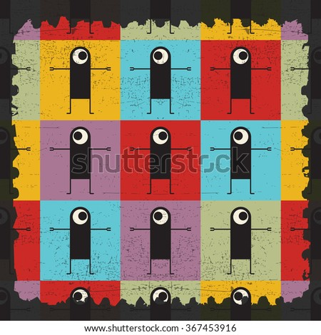 a piece of torn paper with monster seamless pattern. Cartoon illustration. - stock vector