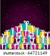 A pile of colorful Christmas gift boxes. Vector illustration - stock vector