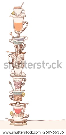 A pile of cups. Some various ornate cups of tea/coffee, saucers and spoons. Isolated on white background.  - stock vector