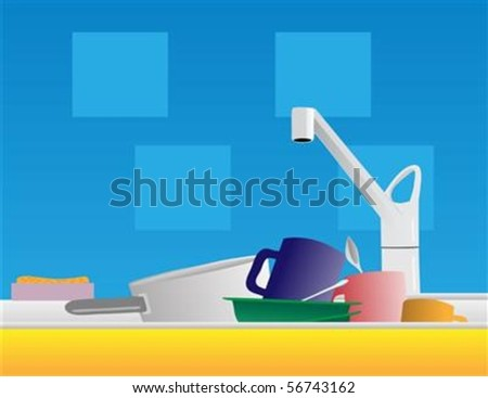 A pile of dirty dishes sit in a kitchen sink. The different graphics are all on separate layers so they can easily be moved or edited individually.