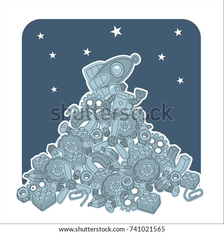 A Pile Of Parts And Components With Rocket On Top Stars In The Sky