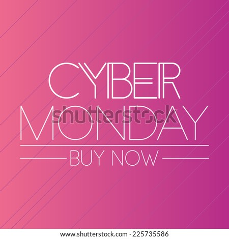 a pink background with text for cyber monday - stock vector