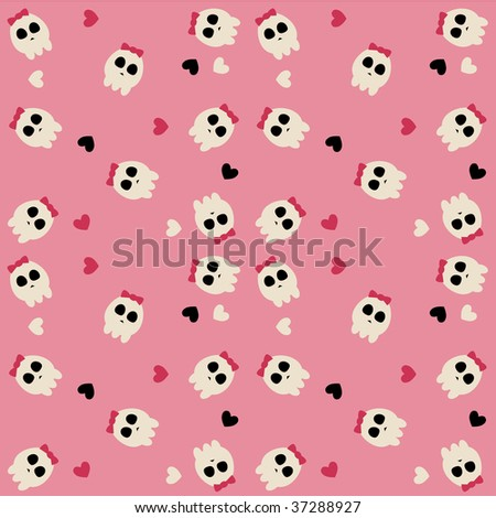 A pink pattern of cute sculls with bow and hearts - stock vector