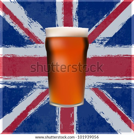 A Pint of Bitter Beer over a grunged Union Jack - stock vector