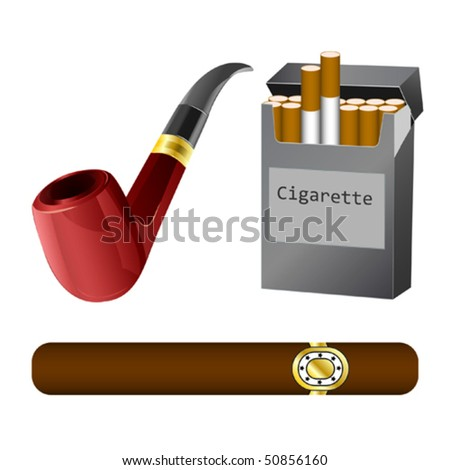 a pipe, cigar and cigarette vector illustration - stock vector