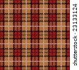 A pixel plaid pattern in red and golds. - stock vector