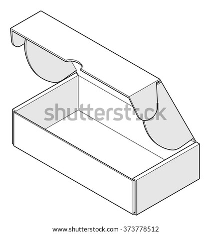 A plain buff carton: rectangular footprint with top and side locking flaps. - stock vector