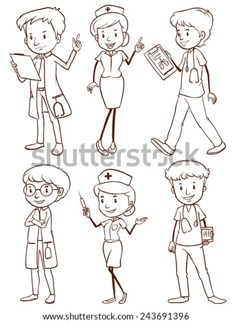A plain drawing of a group of nurses and doctors on a white background - stock vector