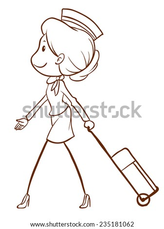 A plain drawing of an air hostess on a white background