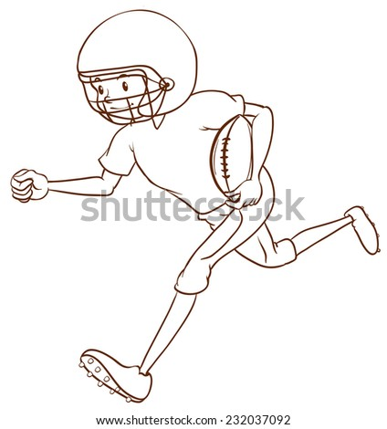 A plain drawing of an American football athlete on a white background