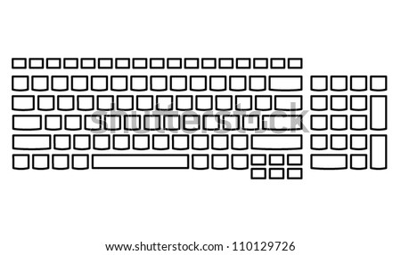 A plain unlabelled island-style keyboard - US layout. - stock vector