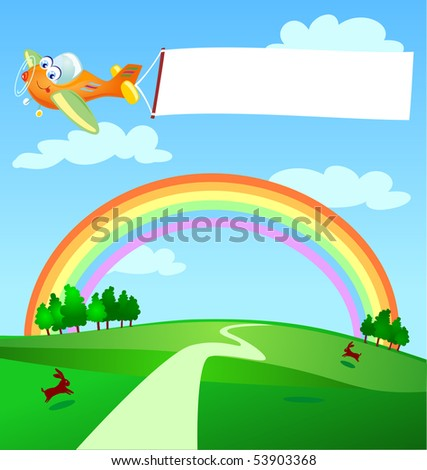 A plane flies by dragging a white banner, vector - stock vector