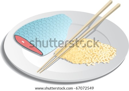 A plate of fish and rice with chop sticks - stock vector