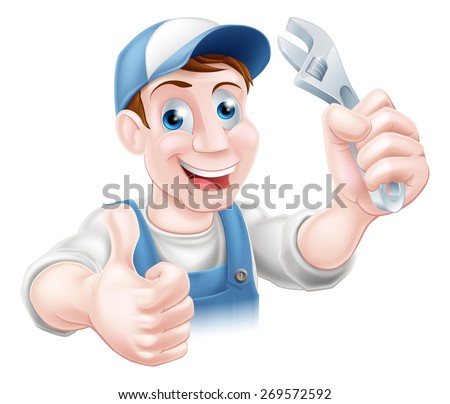 A plumber or mechanic in baseball cap holding a spanner and giving a thumbs up - stock vector