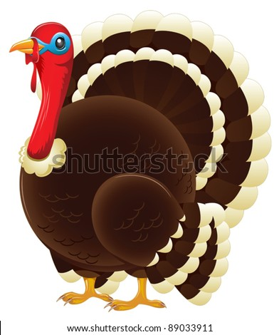 A plump thanksgiving or christmas turkey standing. - stock vector