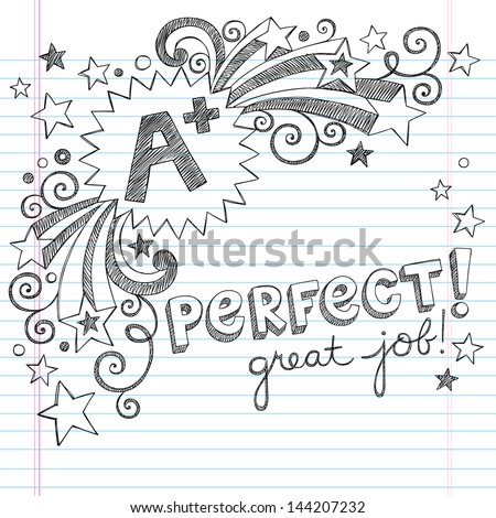 A Plus Student Great Grades Back to School Sketchy Notebook Doodles with Lettering, Shooting Stars, and Swirls- Hand-Drawn Illustration Design Elements on Lined Sketchbook Paper Background - stock vector