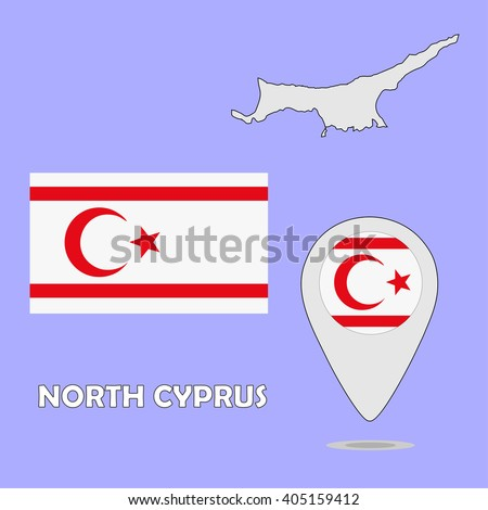 Map National Flag Turkish Republic Northern Stock Vector 717017005