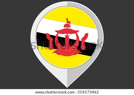 A Pointer with the flag of Brunei - stock vector