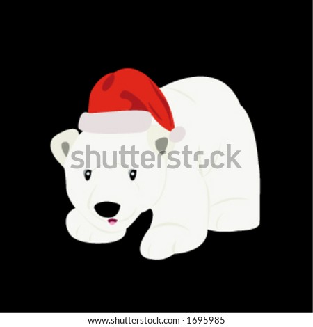 A polar bear wearing a Christmas hat (hat and black background are easily removable if preferred). - stock vector
