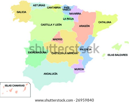 Political Map Spain Showing Different Regions Stock Vector - Spain regions map