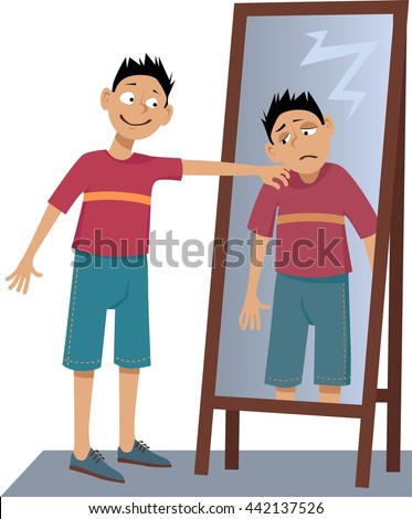 Negative person screaming his own sad stock vector for Mirror yourself
