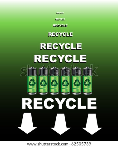 A poster for a battery recycling point. EPS10 vector format. - stock vector