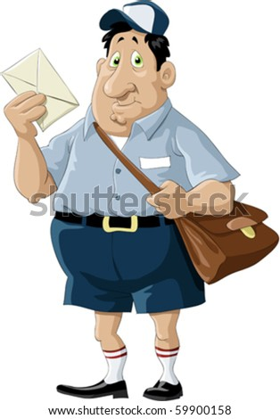 A postman with a bag and a letter - stock vector