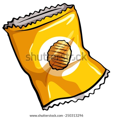 A pouch of potato chips on a white background - stock vector