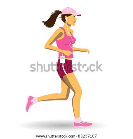 A Pretty Woman Jogging, Running - stock vector