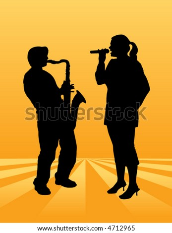 A pretty woman sings on an ethereal background along with a sax player - stock vector