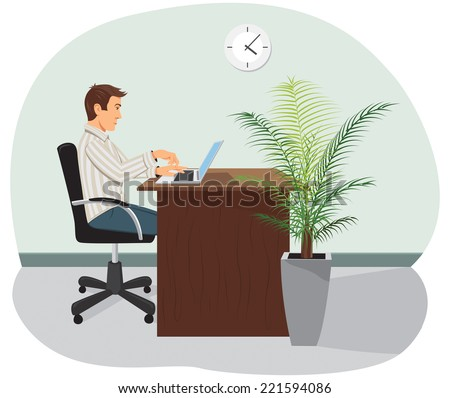 A programmer sits in the chair and works on a laptop. A palm tree is on the floor. - stock vector