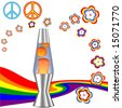 A psychedelic 60's 70's Hippie Kit with red orange lava lamp & retro flower power rainbow elements. - stock photo